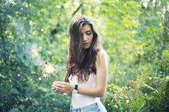 Sparkles (andreannelupien) Tags: girl summer autumn forest trees sparkles light fire magic magical beautiful beauty hair longhair makeup face portrait concept conceptual imagine imagination idea ideas creation create creativity fairytales fairy fairies surreal wonderland