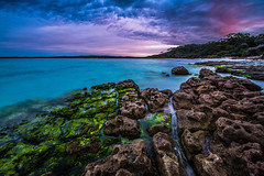 Hyams Beach in Jervis Bay (silardtoth) Tags: water australia background bay blue coast epic exposure green horizon jervis landcsape long moss nature new south wales nsw ocean rock rocks sea seascape stones summer sunset travel vacation jervisbay newsouthwales