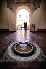 Fountain, Real Alcazar, Seville Spain (B. Gohacki) Tags: fountain realalcazar sevillespain waterfeature moorish moors spanish mudejar seville sevilla espana pentax k1 dslr ricoh reflection pool ripple tile cool fontana moody historic building streets old
