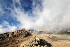Clouds on the Western Breach from Arrow Glacier Camp - Kilimanjaro National Park - Tanzania (PascalBo) Tags: nikon d300 tanzania tanzanie africa afrique eastafrica afriquedelest kilimanjaro kilimandjaro kilimanjaronationalpark parcnationaldukilimandjaro westernbreach lemosho hike hiking trek trekking outdoor outdoors volcanic rock stone clouds nuages landscape paysage sky ciel pascalboegli