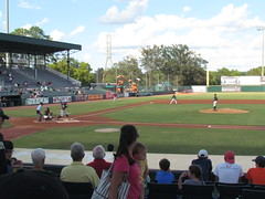The First Pitch in the Game Between the Rome Braves and the Augusta GreenJackets at Lake Olmstead Stadium -- Augusta, GA, September 4, 2016 (baseballoogie) Tags: 090416 baseball16 baseball baseballpark ballpark canonpowershotsx30is lakeolmsteadstadium augustagreenjackets greenjackets sally southatlanticleague a augusta georgia ga