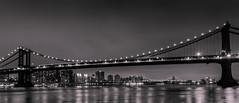 Manhattan bridge and Williamsburg bridge (Michel Couprie) Tags: city nyc bridge light blackandwhite bw usa newyork reflection brooklyn night canon river dark eos cityscape noiretblanc manhattan reflect manhattanbridge eastriver williamsburgbridge nighscape 450d