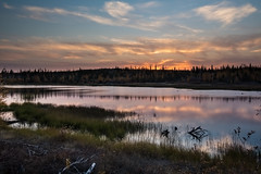 Sunset at Yellowknife  (Sharleen Chao) Tags: travel autumn sunset lake canada reflection water night canon landscape pond mood cloudy calm  northwestterritories   yellowknife   1635mm  canoneos5dmarkiii canon5dmarkiii