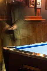(Photofidelity) Tags: nightphotography man blur color pool bar pub ghost olympus motionblur billiards buffalony pooltable meghanherald olympusomdem5