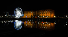 The Albert Dock, Liverpool  (Explored!) (Hans Kool) Tags: uk wheel night docks dark evening shot unitedkingdom albert great fortune late avond donker brittain pakhuis wharehouse pakhuizen wharehouses explored havenwater liverpooldock