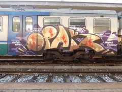 haunted waves moving graves (en-ri) Tags: train writing torino graffiti viola rosso 2012 marrone sdk wufc opak
