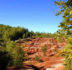 Cheltenham Badlands, Ontario (Orangevillain) Tags: red ontario landscape hills clay badlands