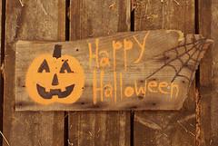 HalloHandmade (obsequies) Tags: wood decorations art classic halloween pumpkin whimsy hand handmade jackolantern folk antique painted chic decor distressed whimsical jol reclaimed shabby barnwood