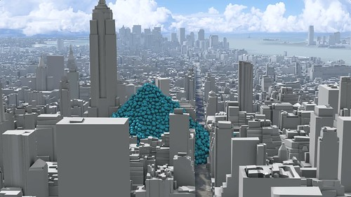 A single hour of New York City's carbon dioxide emissions, as one-ton spheres.