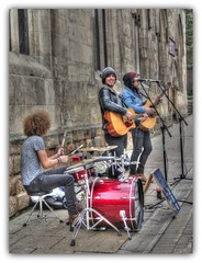 """York Rocks"" (robin denton) Tags: street york city people church rock drums sitting guitar streetperformers group streetscene buskers sit busker seated northyorkshire allsaints streetentertainers peoplesitting peopleseated"