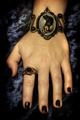 SteamGoth Jewelry Set - Bracelet - Feline / Cat on Skull Cameo and Steampunk Black Onyx Ring (Catherinette Rings Steampunk) Tags: art fashion cat skull jewelry ring bracelet cameo steampunk