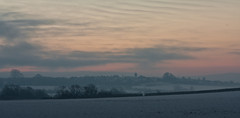 View from the Road (Dylan Farrow) Tags: christmas winter england snow cold sunrise motorway m4
