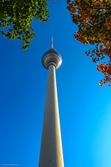 Fall Colors & TV Tower (nbcmeissner) Tags: blue berlin alex architecture modern germany deutschland alexanderplatz architektur blau modernarchitecture tvtower nationalgeographic norddeutschland northerngermany modernearchitektur canondigitalixus870is