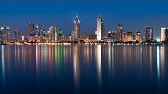 Night lights, those blues-in-the-night lights (pixelmama) Tags: california longexposure night nightlights sandiego clear coronado starburst sandiegoskyline hcs natkingcole clichesaturday pixelmama thosebluesinthenightlights