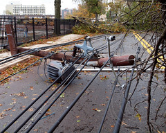 2012 Hurricane Sandy - Closed River Road, Edgewater, New Jersey (jag9889) Tags: trees storm march newjersey flooding closed power waterfront flood sandy hurricane nj utility super hudsonriver poles posts edgewater 2012 noreaster riverroad bergencounty northeaster superstorm 07020 zip07020 october2012 jag9889 y2012 hurricanesandy superstormsandy