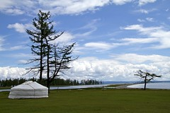 Home with a view (bag_lady) Tags: lake home water asia view tent mongolia ger mongolian bluewaterlake earthasia northernmongolia khovsgulnuur