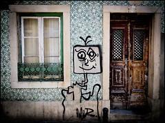 *** (le) Tags: street door portugal window wall graffiti lisboa porte ruelle lisbonne azulejos streetrt