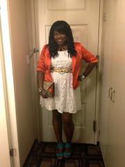 Lace Dress/Vintage Belt/Orange Blazer (Diary of a Chic Mommy) Tags: orange lace leopard blazer wedges plussize lacedress plussizefashion diaryofachicmommy