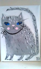 cat 1 (sally_wolfe_) Tags: cute cat painting grey kitten canvas grumpy