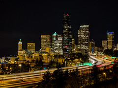 Cold Steel (LBeckons) Tags: road seattle city longexposure motion blur building car skyline architecture night landscape lights washington interesting movement highway cityscape traffic i5 images clear explore freeway getty pnw omd xseries 31mm em5 62mm 12thavebridge lumixgvario1235f28 panasonic1235mm