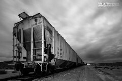 take the train to death valley (Eric 5D Mark III) Tags: california longexposure portrait sky people blackandwhite bw usa cloud monochrome night train canon dark landscape photography vanishingpoint unitedstates perspective wideangle cargo midnight ridgecrest trona ericlo tse17mmf4l eos5dmarkiii 5d3 tse17l tronapinnacle