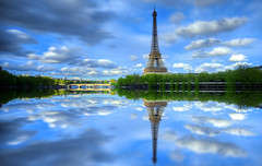 Eiffel Tower (AO-photos) Tags: longexposure sky paris france reflection monument architecture clouds eiffeltower reflet