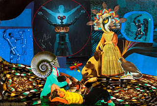 LARRY CARLSON, The Dreams of the Night Will Vanish by Dawn, collage on paper, 12x10in., 2012.