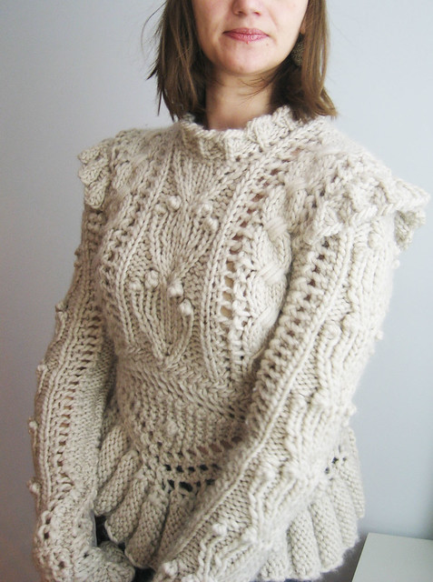 Dayana Knit Anthropologie Sweater Bobbles Armour Military