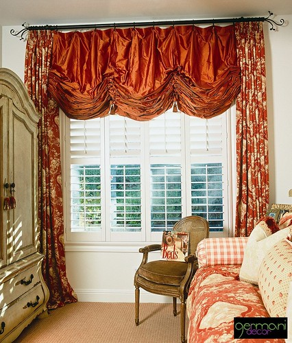 Germani Relaxed Roman Shade with coordinating Drapes