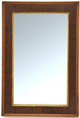 90. Mahogany Veneered Wall Mirror with Gilt Fillet