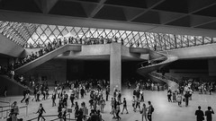 Louvre's Hall (miguel_lorente) Tags: glass building people louvre structure blacknwhite hall paris travel museum blackandwhite architecture stairs france tourism bw bnw