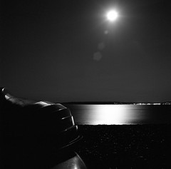 Moon and a Row boat, Calshot Beach, England (Geoff Trollope) Tags: moonlight solent landscape sea moon beaches night photograhpy hampshire long exposure boats ilford film hasselblad carl zeiss