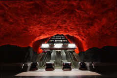Stockholm's Solna Centrum Metro station (ec1jack) Tags: stockholm solna centrum metro station sweden underground red blueline escalator stairs train ec1jack kierankelly canoneos600d august september 2016 summer europe scandinavia