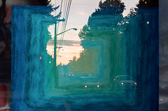 Blue Commute (Film Swap) (Prestonbot) Tags: pastel blue art evening cars travel travelling commute trees street light sunset doubleexposure filmswap kodakgold200 frame honda