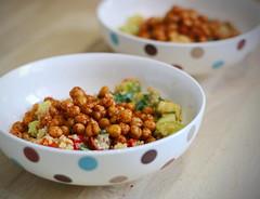 Roast summer vegetables with a basil-tahini sauce (communityharvestwhetstone) Tags: recipes