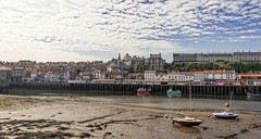 Whitby at Low Tide (jack cousin) Tags: nikon d610 on1photos whitby yorkshire coast harbour harbor quay boat yacht buildings townscape landscape town sea sky cloud