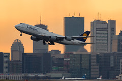 Lufty Departure (cvillandry (Instagram & Twitter @cvillandry)) Tags: aviation boston coughlinpark loganairport sunset boeing lufthansa lufty airplane 747 prudential buildings plane flight travel vacation tourism