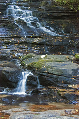 MINNEHAHA LARGE 5 (KayLov) Tags: nature georgia mountains hike water waterfall minnehaha large steps rock boulder trees forest woods ribbon green brown tan white leaves lake rabun