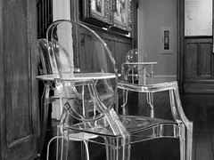 Ghosts in the Museum (pilechko) Tags: chairs furniture ghostchair clear transparent plastic blackandwhite monochrome indoors museum chestnuthill philadelphia pennsylvania