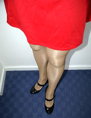Red miniskirt (colleen_ni00) Tags: tranny crossdresser transvestite miniskirt heels mary jane tights shiny boots