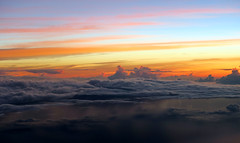 rain below, sunrise above (Jaws300) Tags: sunrise sun rise rising orange sky cloud clouds cloudy stormy storms horizon airborne aloft flying scenery from above airbus a300 japan pacific ocean