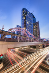 Bangkok Vibe @ Chong Nonsi V3 (tapanuth) Tags: bangkok thailand chongnonsi building architecture cityscape twilight bluehour sunset traffic longexposure lighttrails night scene photography vertical sathornsquare bridge street road office business district city urban central evening dusk sky blue