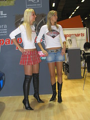 Blondes: which one? (themax2) Tags: nylon legs boots denim tagme blondes miniskirt highheels model pantyhose 2006 hostess girl promoter bologna motorshow