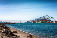 alameda-012.jpg (Yvonne Rathbone) Tags: beach bridge coast containership cranes fog harbor shipping ships skyline sun water