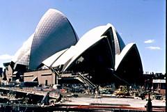 sydney 1987 (DOLCEVITALUX) Tags: sydneyoperahouse stmaryscathedral darlingharbour centrepointtower sydneyaustralia australia sydney slide ld photosold photos