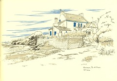 Kersauce, Ile de Groix (lolo wagner) Tags: france landscape drawing bretagne dessin croquis carnetdevoyage groix travelbook
