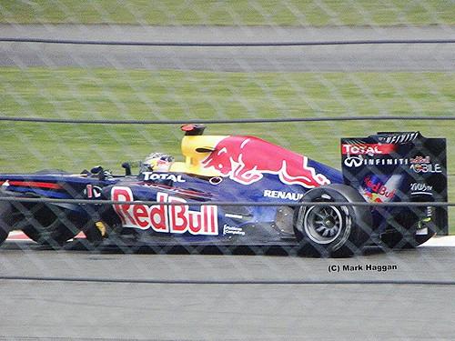 Sebastian Vettel in his Red Bull Racing F1 car at the 2011 British Grand Prix at Silverstone