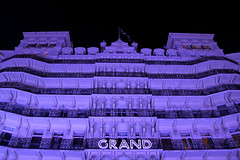 King's Road - Brighton (England) (Meteorry) Tags: uk greatbritain england english night sussex hotel evening brighton europe purple unitedkingdom britain victorian illumination grand september british soir nuit eastsussex luxe bluelight 2012 grandhotel kingsroad devere meteorry