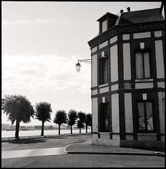 the corner  quillebeuf, normandy  2012 (lem's) Tags: street trees seine rolleiflex corner buildings river coin maisons arbres normandie rue normandy fleuve quillebeuf
