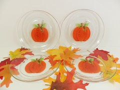 "Pumpkin Dessert Appetizer Plates 7"" Hand Painted Set of 4 (Painting by Elaine) Tags: thanksgiving autumn fall halloween kitchen glass pumpkin dish painted plate housewares handpainted appetizer entertaining tableware appetiser paintedplates dessertplates handpaintedglass handpainteddish pumpkinplate appetizerplates paintingbyelaine"